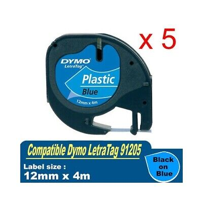AU35.40 • Buy 5x Generic LetraTag Plastic Tape Dymo 91205 SD91205 Black On Blue 12mmX4m