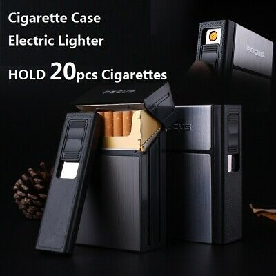 Cigarette Case Holder Box USB Electric Rechargeable Lighter Flameless Windproof • 7.99£