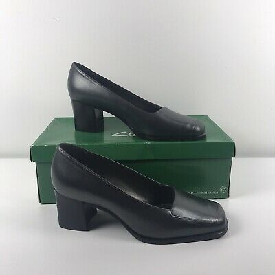 Clarks Black Pewter Leather Mules / Heels - Womens Size 3C • 20£