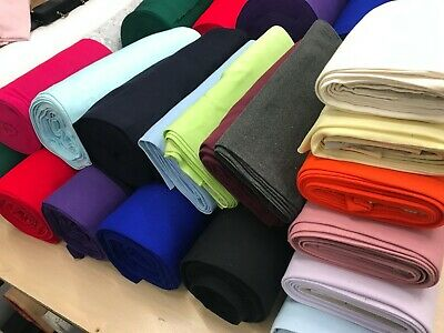 £4.99 • Buy Plain Colour RIB  Tubular 37cm Wide Ribbed CUFF CUFFING Cotton Jersey Fabric