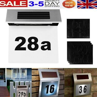 Modern Solar Powered Illuminated House Door Number Wall Light Up Plaque A-G 0-9 • 7.98£