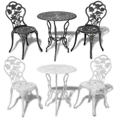 3 Piece Bistro Set Outdoor Garden Table And Chairs Cast Aluminium Green/White • 155.99£