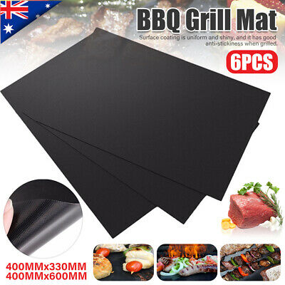 AU20.79 • Buy 6pcs Reusable BBQ Mat Teflon Fiber Non-Stick BBQ Grill Mat Sheet Hot Plate Pad