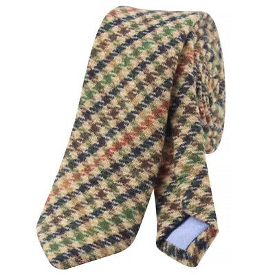 Country Brown Check Mens Tweed Wool Skinny Tie. Excellent Quality & Reviews. UK. • 7£