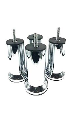 4x METAL CHROME LEGS FURNITURE FEET,  SOFA BEDS,CHAIRS, STOOLS,CABINETS  • 9.60£