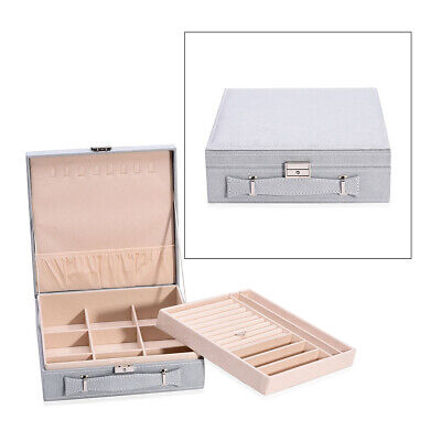 Gray Faux Velvet Briefcase Style Jewelry Box Anti Tarnish Scratch Protection • 23.25£