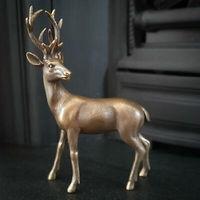 £16.99 • Buy Stag Looking Left Garden Statue  / Ornament Made From Resin Antique Gold Finish