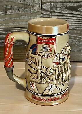 "$ CDN23.51 • Buy Vintage 1980 Budweiser Stein Beer Mug Made For 1984 Olympics 6 1/4"" Tall"