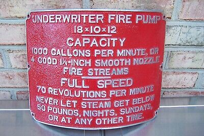 £89.91 • Buy Early Aluminum Underwriter Fire Pump Curved Plaque / Sign