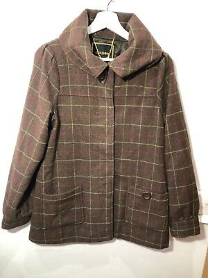 Gentle Fawn Ladies Check Field Coat Size M 12 Wool Blend Tweed Country • 49.99£