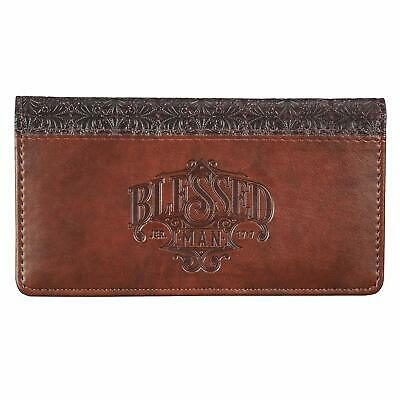 $10.12 • Buy Checkbook Cover For Men ?Blessed Man? Christian Brown Wallet, Faux Leather