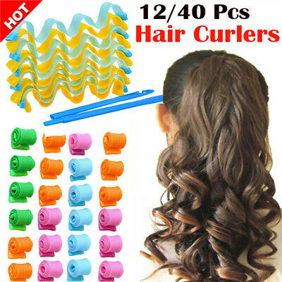 40PCS 50CM Magic Long Hair Curlers Curl Formers Spiral Rollers Styling Tool Hook • 5.35£