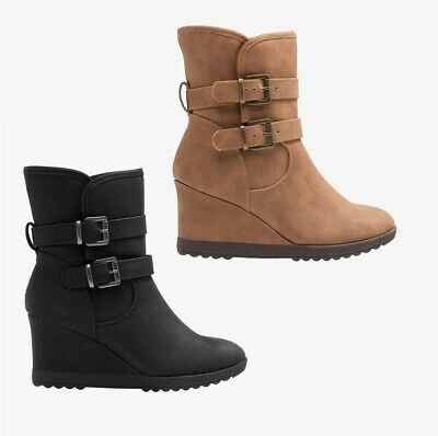 Ladies Womens Dorothy Perkins Branded Wedge Ankle Winter Zip Up Boots Shoes Size • 16.99£