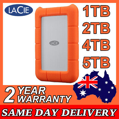 AU338 • Buy LACIE RUGGED DROP RESISTANT 1TB 2TB 4TB 5TB USB-C External Portable Hard Drive