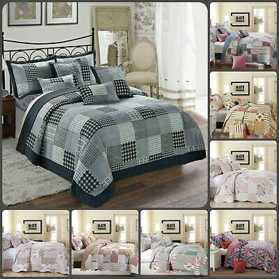 £28.49 • Buy 3Pcs Printed Patchwork Quilted Bedspread With Pillow Shams Bedding Set All Size