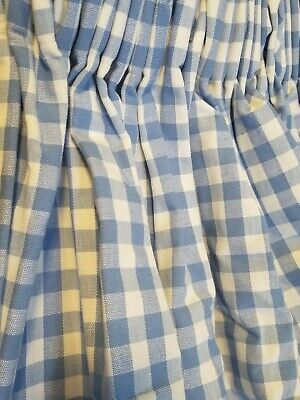 £83.07 • Buy Blue White Check Gingham Curtains Panels Pinch Pleated 26 X70