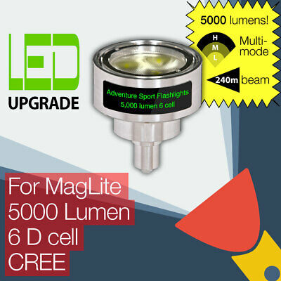 ASF MagLite LED Conversion/upgrade Bulb 5000LM Torch/flashlight 6D Cell CREE • 124.95£