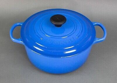 Le Creuset France #26 Blue Enamel Dutch Oven 5 1/2 Qt Cast Iron Round Casserole • 191.67£