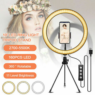 Ring Light LED Studio Photo Video Dimmable Lamp With Tripod Stand Selfie Stick • 17.89£