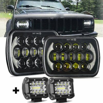 AU114.49 • Buy DOT Approved Pair 5x7  7x6  Inch Led Headlight DRL For Jeep Cherokee XJ +4  Pods