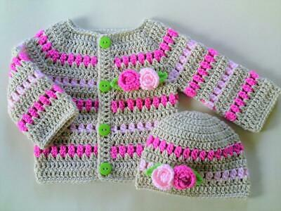 Crochet PATTERN Baby Cardigan And Hat. PDF Pattern To Email Or Post Pattern (56) • 1.59£