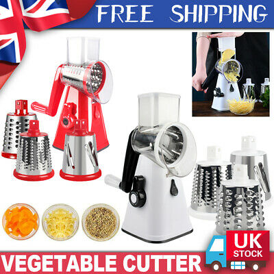 3 In1 Multifunction Kitchen Vegetable Food Rotary Drum Slicer Grater Chopper UK • 11.79£