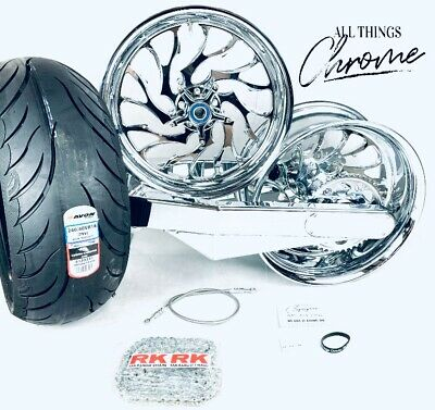 $5299.99 • Buy 240 CHROME FAT TIRE KIT W/ HELLIAN WHEELS 01-08 SUZUKI GSXR 1000