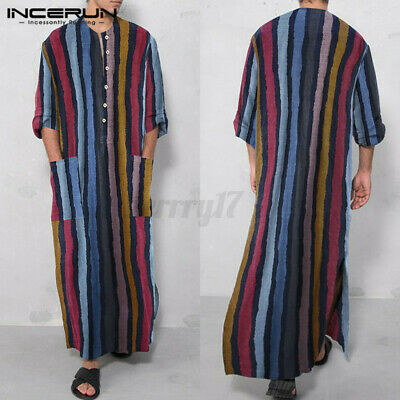 Mens Muslim Ethnic Kaftan Long Sleeve Baggy Loose Fit T Shirt Tunic Loungwear UK • 12.86£