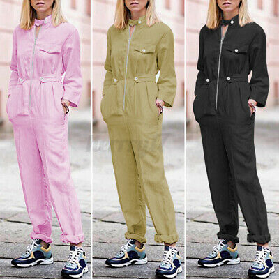 UK Womens Full Sleeves Zipped Jumpsuit Loose Harem Playsuit Boilersuit Size 8-26 • 10.94£