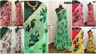 Bollywood Saree Indian Designer Floral Print Sari With Embroidery Lace Border KR • 16.49£