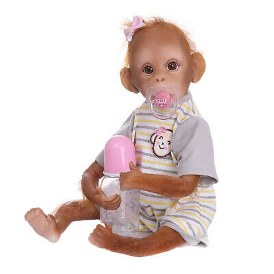 16  Reborn Monkey Silicone Vinyl Doll Toy Cloth Body With Stripe T-shirt • 43.03£