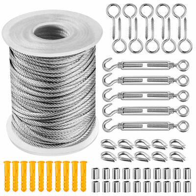 30M Stainless Steel Wire Set Kit Rope Cable Clamps Thimbles Hooks Hanging UK • 17.95£