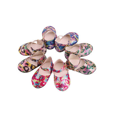 Trendy Doll Leopard Print Sequins Shoes Flat Shoes For 18inch 45cm Dolls • 3.92£
