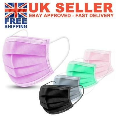 Black Pink Disposable Face Masks Genuine Mask Medical Surgical (3 Ply Not 2 Ply) • 8.99£