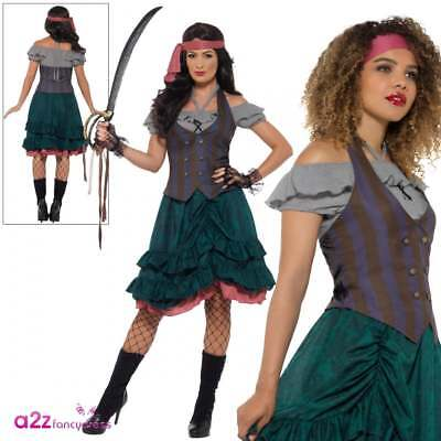 Ladies Deluxe Pirate Wench Costume Adult Pirates Caribbean Fancy Dress UK 8-14 • 14.95£