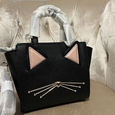 $ CDN132.71 • Buy Kate Spade Jazz Things Up Mini Hayden Black Cat Leather Crossbody Satchel NWT