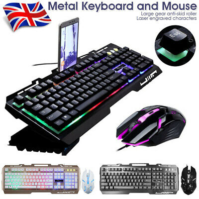 Backlight Gaming Keyboard And Mouse Set Computer PC USB Wired Keyboard+Mice Kit • 14.99£