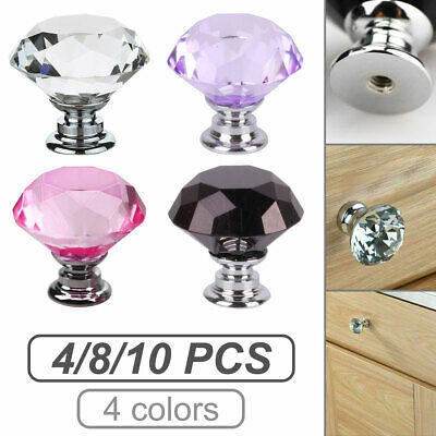 Crystal Diamond Glass Door Knobs Cupboard Drawer Furniture Handles Cabinet UK • 6.30£