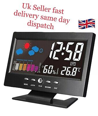 Projection Digital Alarm Clock Snooze Weather Thermometer Sound Control LED LCD • 6.99£