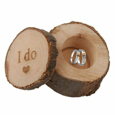 Wood Ring Box Personalized Wedding Valentines Couple Engagement Wooden Ring Box • 6£
