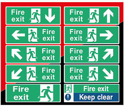 Fire Exit Sign Sticker  Emergency Escape Fire Drill Safety Self Adhesive Sticker • 0.99£
