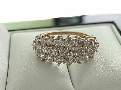 £149.99 • Buy 9ct Rose Gold Created Diamond Cluster Ring Size N Free Postage Gift Idea