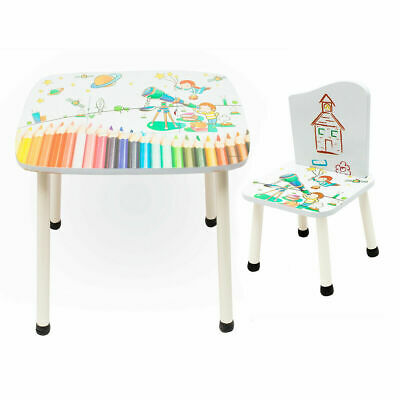 £32.99 • Buy NEW Style Childrens Wooden Table And Chair Set Kids Toddlers Child With 2 Chairs