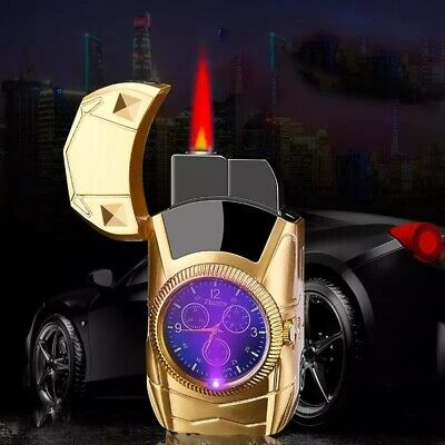 Car Windproof Lighter Turbo Single Jet Gas Refillable Cigar Cigarette Gold Clcok • 9.99£