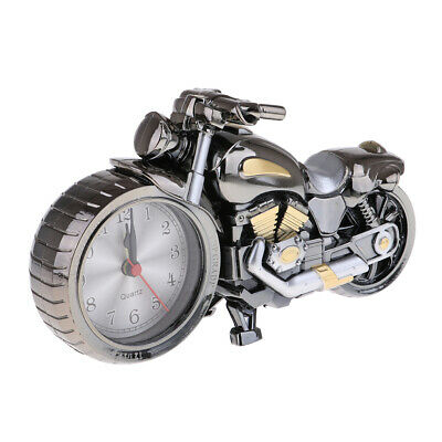 Retro Plastic Motorcycle Alarm Clock Cool Desk Table Personality Clock Gift • 6.55£