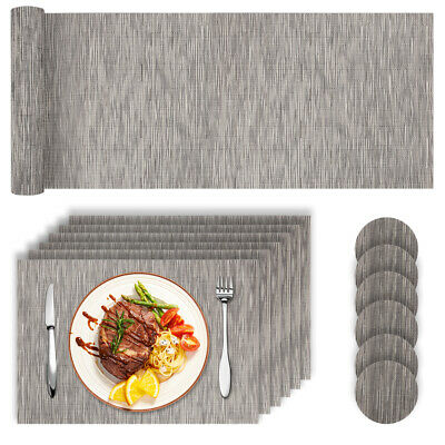 AU36.05 • Buy Set 13PZ PVC Place Mats Coasters Table Runner Dining Placemats Non-Slip Washable