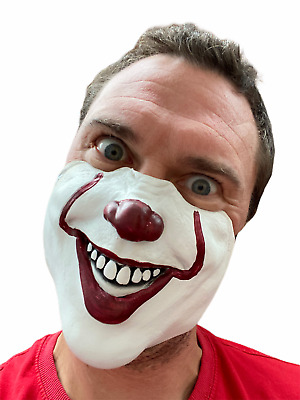 £5.49 • Buy Scary Clown Mask Half Face Halloween Accessory Mouth Cover Adult Kids