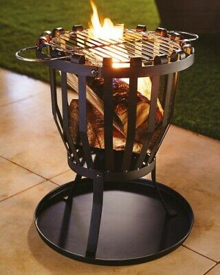 Outdoor Fire Pit Log Burner Garden Patio Heater Table Grill BBQ NEW • 200£