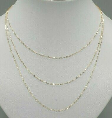 £28.80 • Buy Sparkly 9k 9ct Yellow Gold Diamond Cut Dainty 1.2mm Trace Chain 14  16  18  20