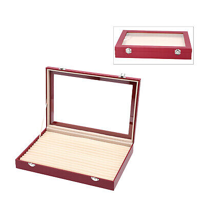 Wine Red Leatherette Anti Tarnish 150 Slot Ring Jewelry Box With 2 Latch Clasp • 27.77£